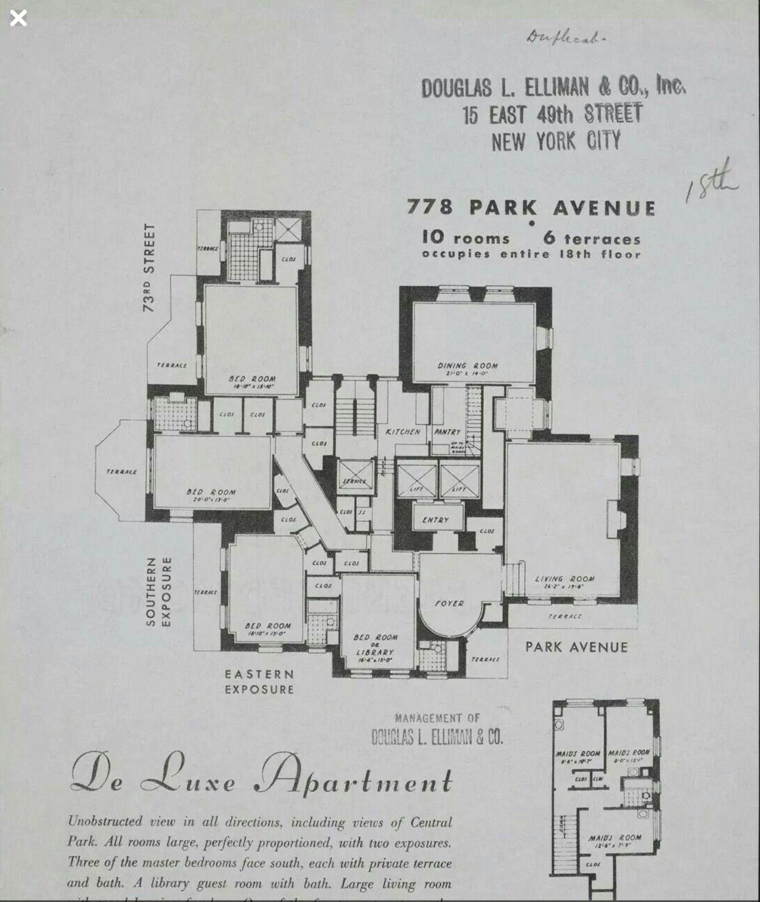 778 Park Avenue 18th Floor New York Apartment Floor Plans New York Apartments Floor Plans