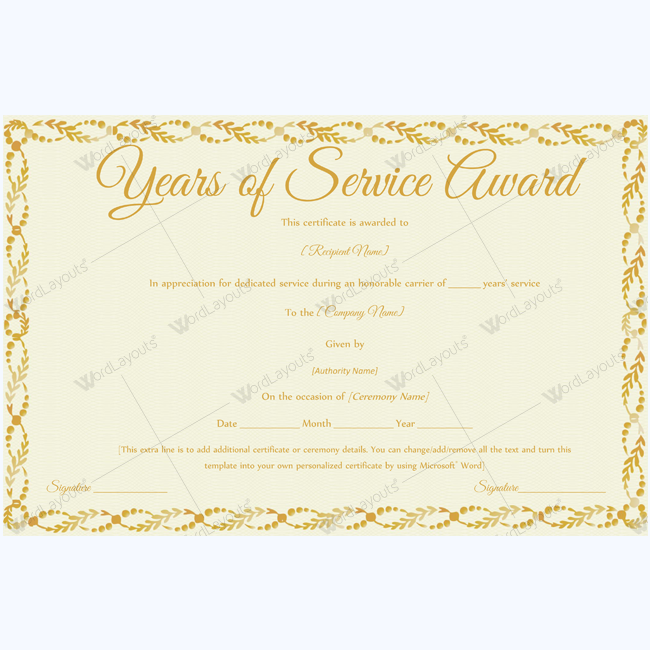 Years Of Service Award 13 Certificate And Template
