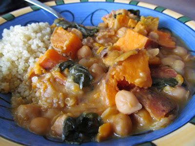 Sweet potato chickpea curry, all ingredients thrown into a pot to simmer! Easy and delicious!