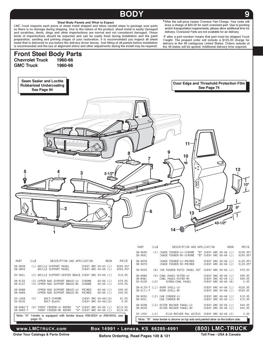 chevy truck body diagram