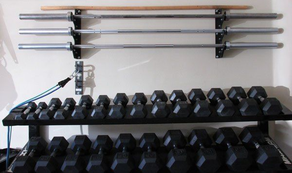 Space saving diy barbell rack bar storage gym gym room at home