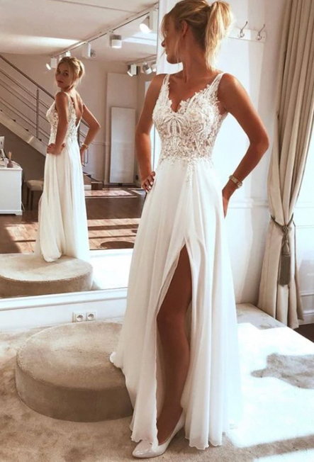 Photo of White lace tulle long prom dress, white evening dress by Mee…