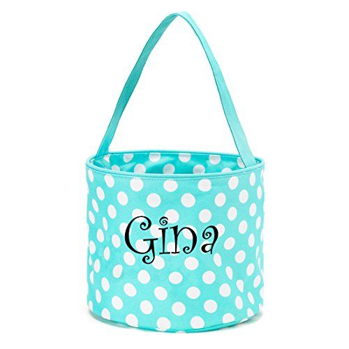 $19 - Amazon - Polka dot fabric Easter bucket for eggs or toys. Available in 15 colors, polka dots, chevron and others patterns. 2017 Easter #amazonaffiliate