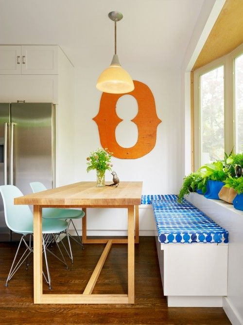 table with built in bench next to cabinets and fridge hearts for rh pinterest es