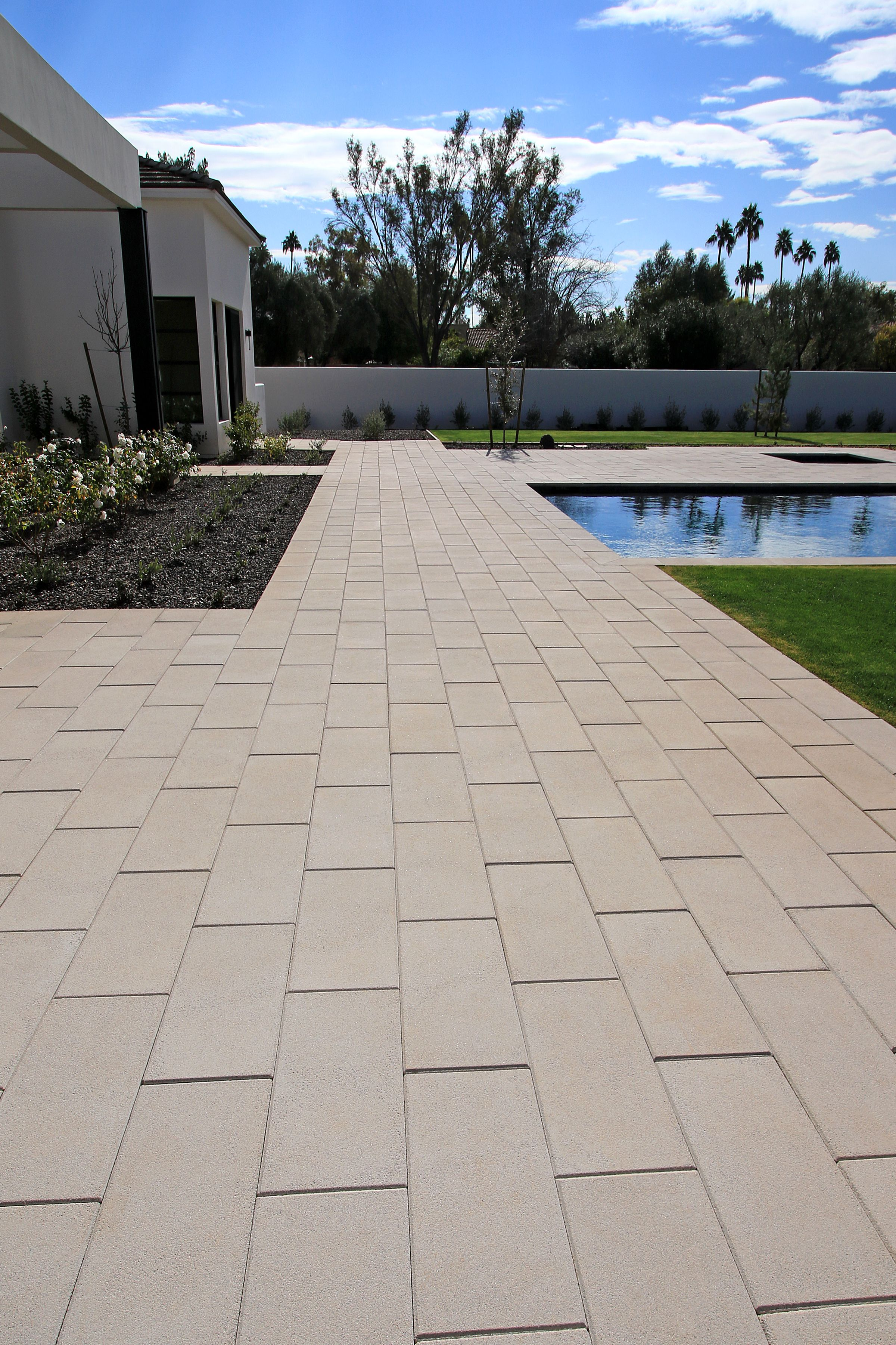 This Pool Patio Has Been Transformed With Our Palazzo 12 X 24 Looks Amazing Doesn T It Ackerstone Pav Patio Pavers Design Paver Patio Outdoor Patio Pavers