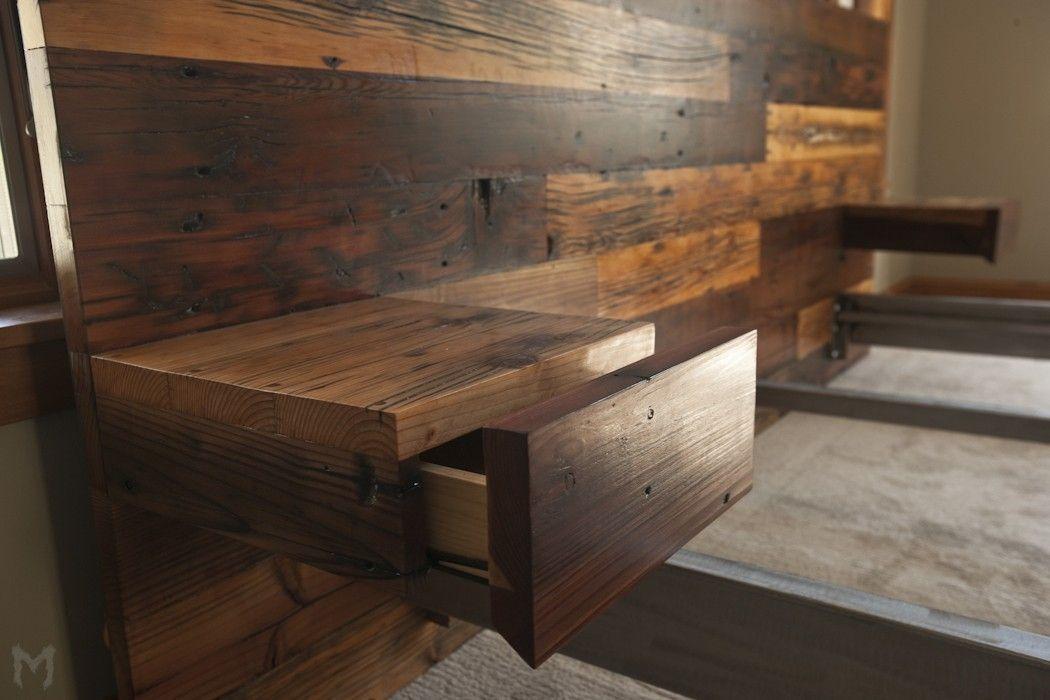 Custom Made Reclaimed King Platform Bed Floating End Tables