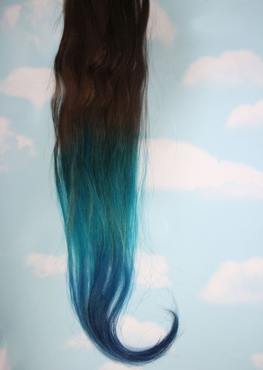 Turquoise Blue Tip Dyed Hair Extensions Dark Brownblack 22 Inches