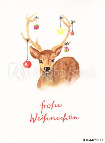 Watercolor Painting Christmas Deer Aquarell Weihnachtskarte Mit