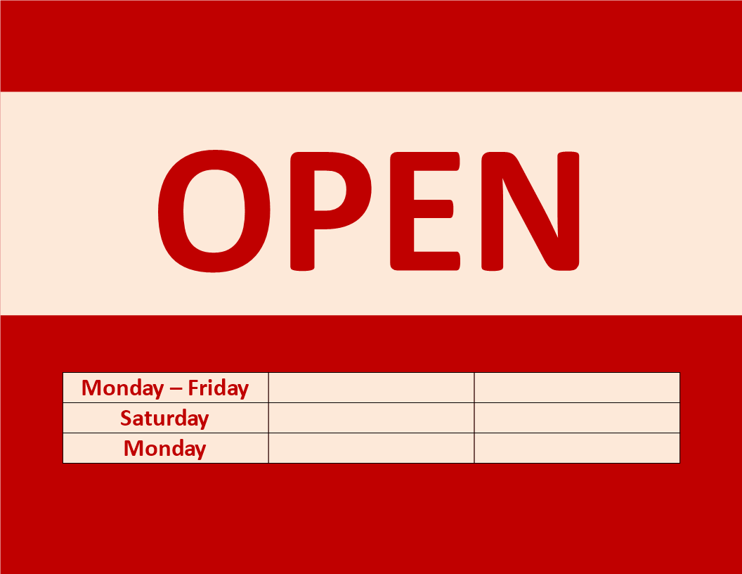 Business hour sign download this printable open sign template and free business hour sign templates at allbusinesstemplates wajeb Image collections