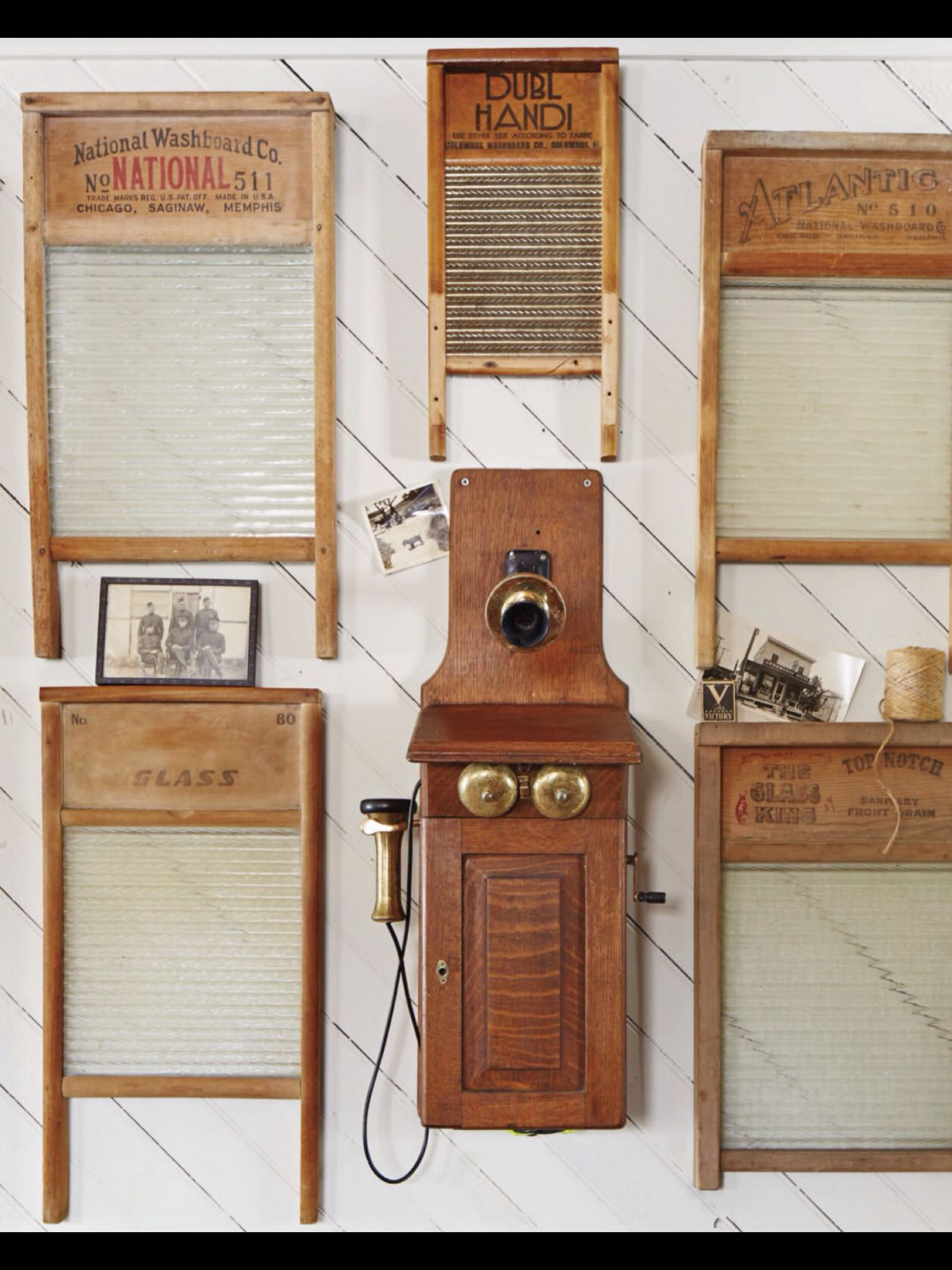Hang Old Washboards And An Antique Phone On Kitchen Wall