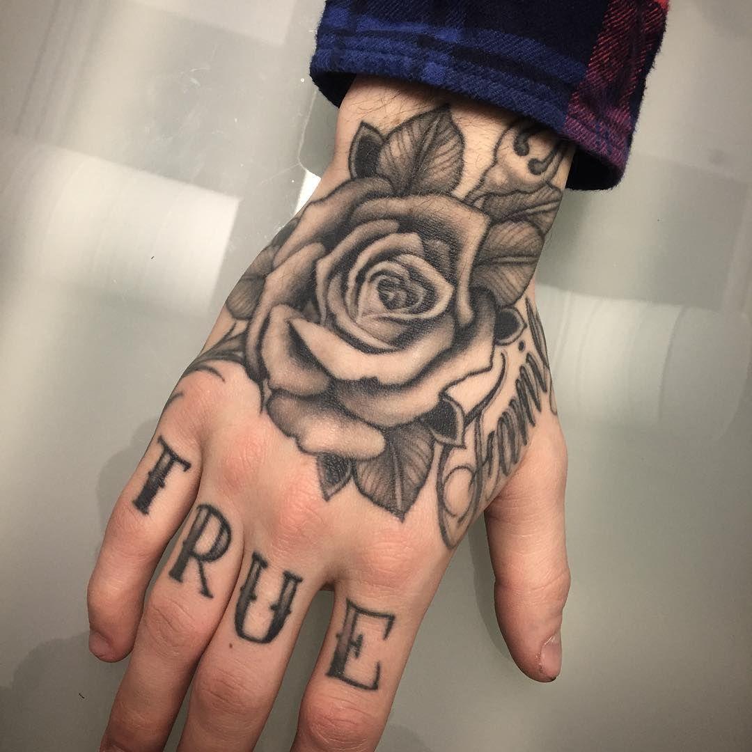 Healed Hand On My Friend Timhagelin Lifestyletattoosodermalm Lifestyletattoo Rosetattoo Blackandgray Hand Tattoos For Guys Hand Tattoos Knuckle Tattoos
