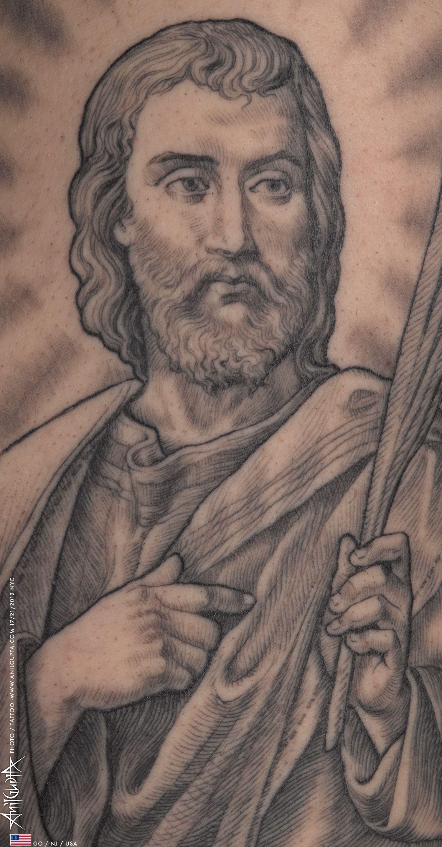 Black & Grey St Jude tattoo inked by Anil Gupta.   Beauty   Tattoos ...
