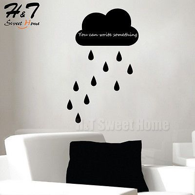 Cloud Raindrops Chalkboard Blackboard Art Vinyl Wall Sticker Decal - Wall decals you can write on