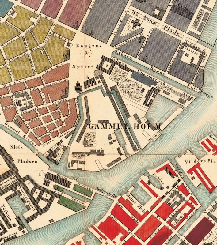 Old Map of Copenhagen Denmark 1853 , City Plan Vintage Map - new world map denmark copenhagen