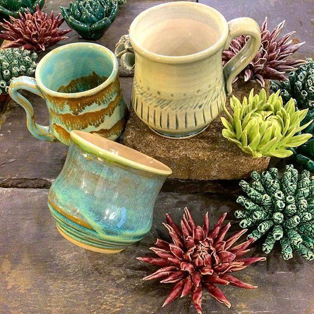 Handmade Pottery by Charleston Artist Beth Moore. Funky Coffee Mug. Indigo, Charleston SC.