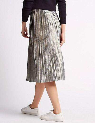 attractive style 100% original utterly stylish Metallic Pleated Midi Skirt | Style it out | Midi skirt ...