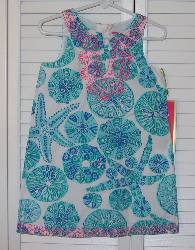 Lilly Pulitzer Target Dress Child 3T Blue Pink White Embroidery Shells Shift #LillyPulitzer #Everyday