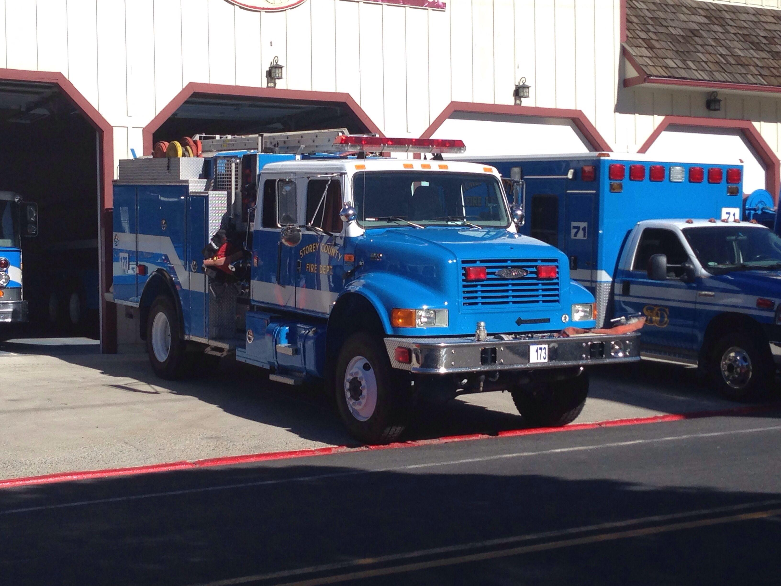Blue fire trucks of storey county nevada fire trucks