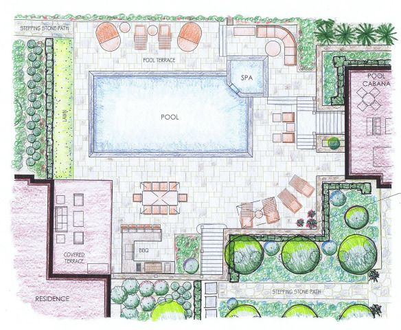 Kriftcher Pool Area Plan Rendering Cropped Outdoor Dining Spaces Plan Sketch Landscape Plans