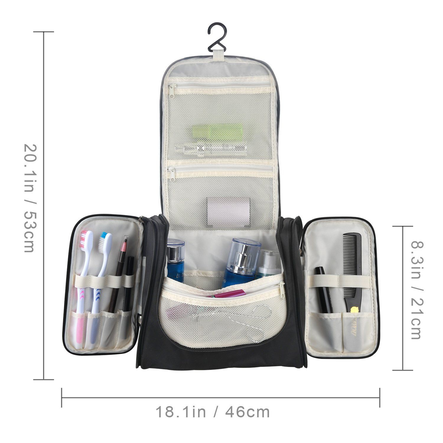 ad9013fb175a ProCase Toiletry Bag with Hanging Hook Organizer for Travel ...