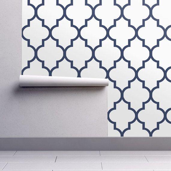 Blue Wallpaper Navy Quatrefoil By Willow Lane Textiles Etsy Blue Wallpapers Quatrefoil Peel And Stick Wallpaper
