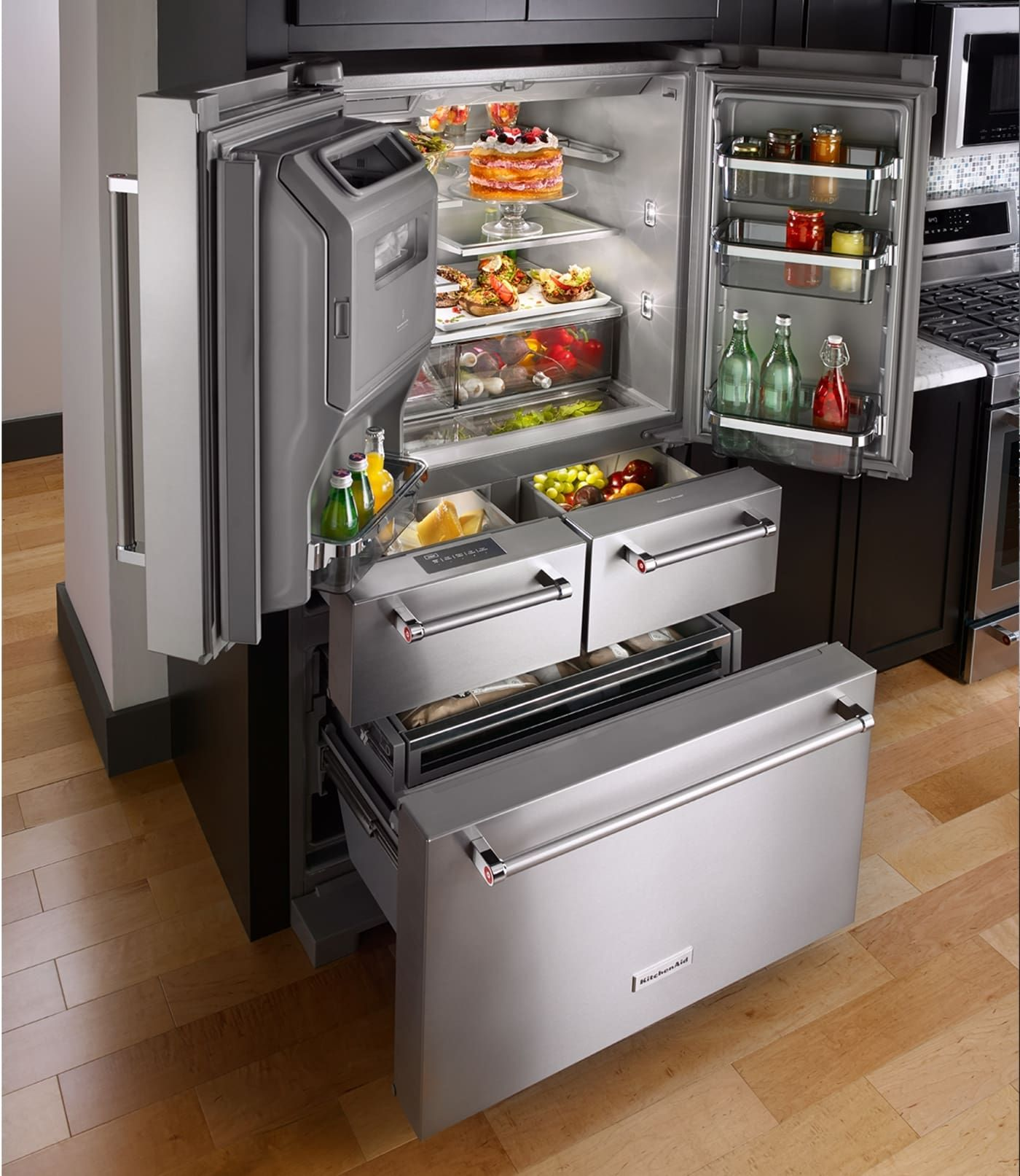 Krmf706ess By Kitchenaid French Door Refrigerators Goedekers Com Outdoor Kitchen Appliances Kitchen Renovation Kitchen Remodel