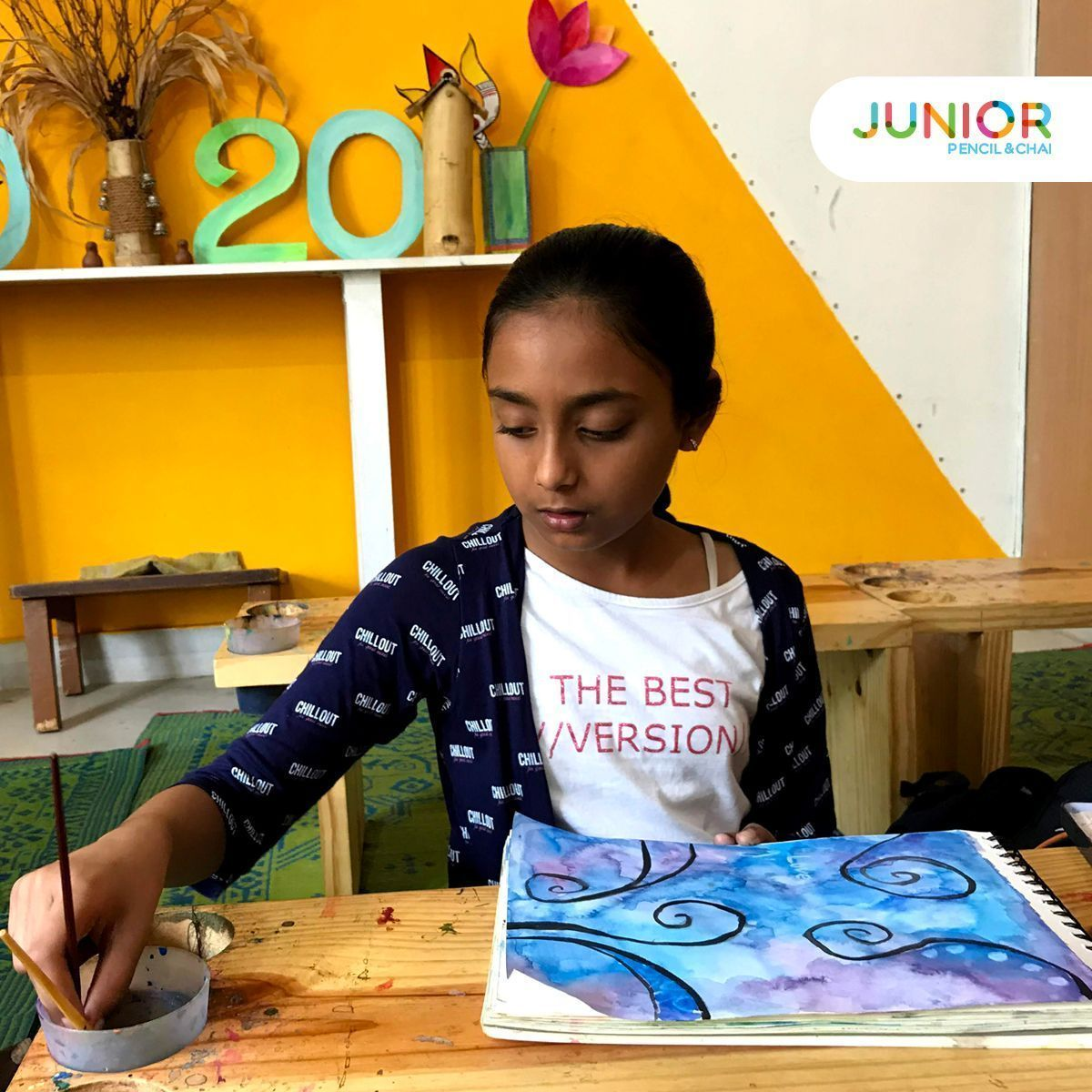 A Beautiful Aqua Blue Painting By Our Junior Cultivate A New
