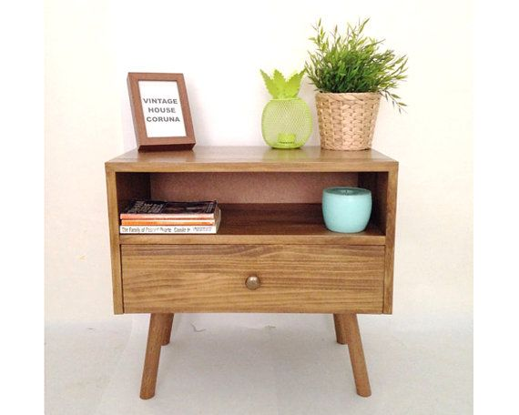 Mid Century Modern Solid Oak Nightstand With Double Drawers Etsy Oak Nightstand Mid Century Modern Nightstand Modern Bedside Table