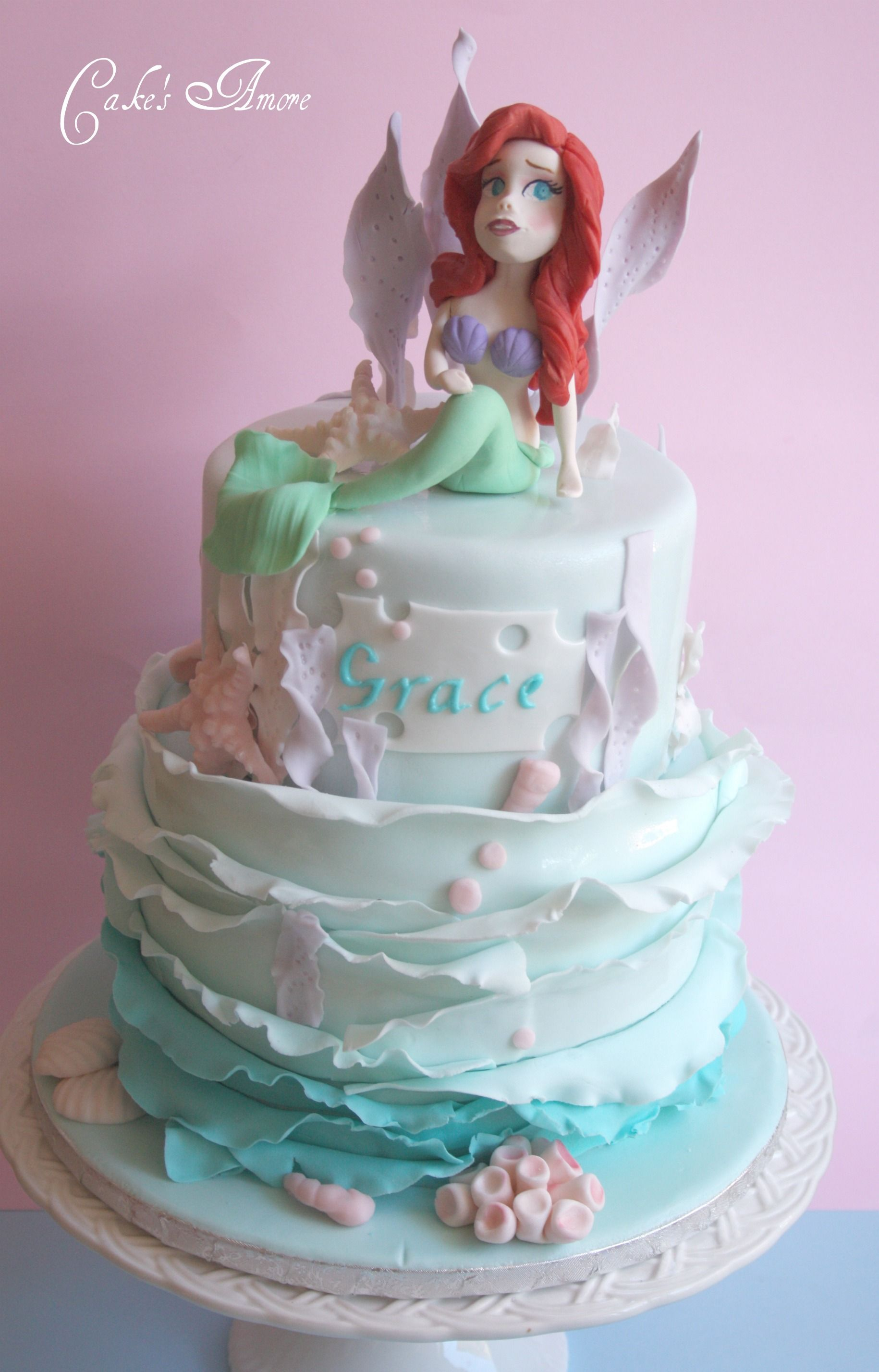 Ariel Cake Decorations Ariel Cake Little Mermaid Pinterest Shells Cakes And Rocks