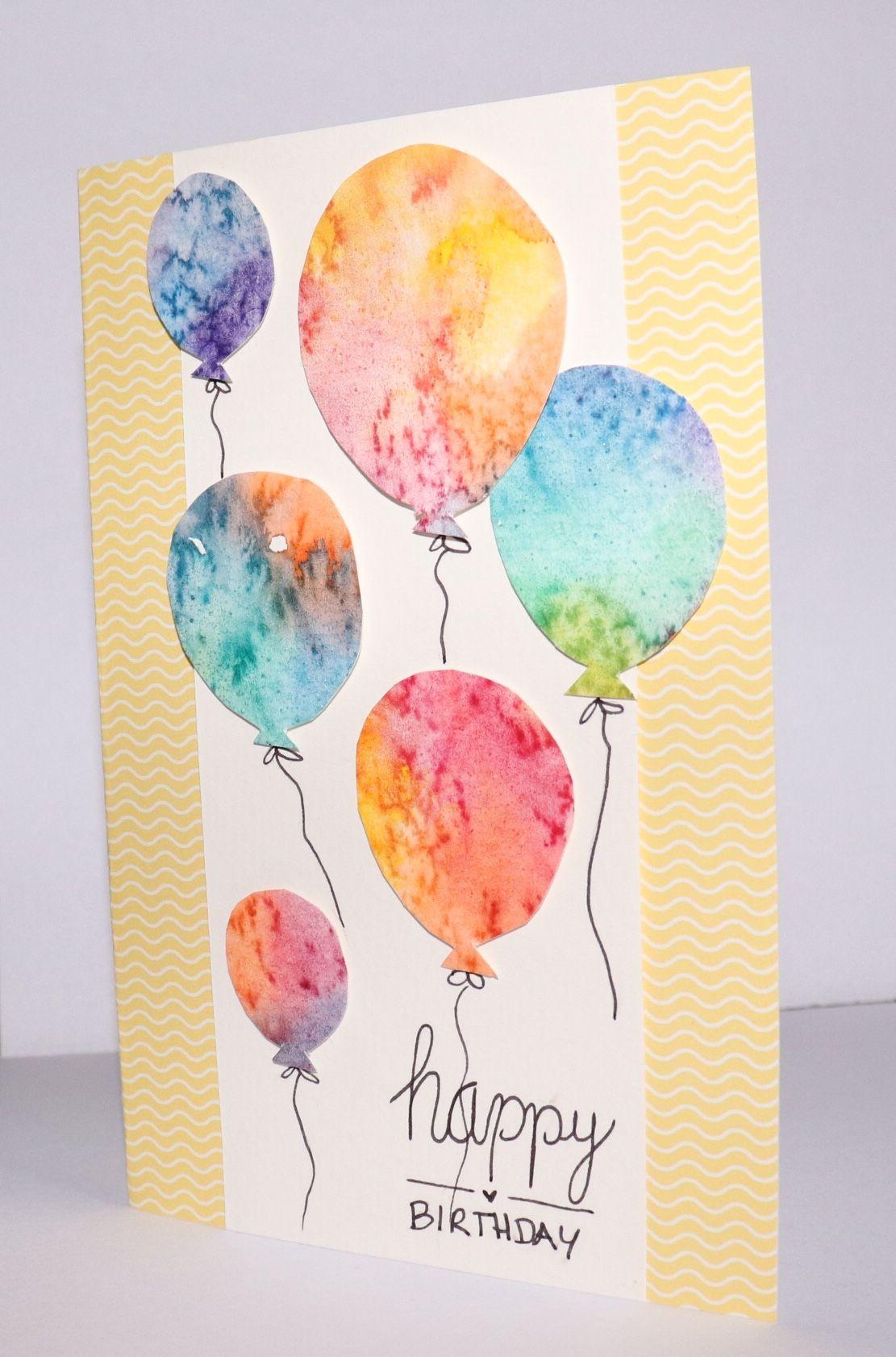 Geburtstagskarte Mit Aquarell Luftballons Mit Bildern