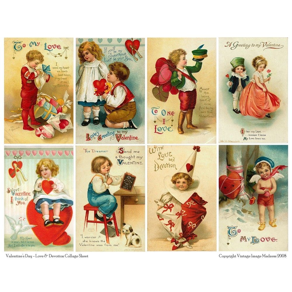 LOVE and DEVOTION Vintage Valentines Postcards - Downloadable Full Page Collage Sheet