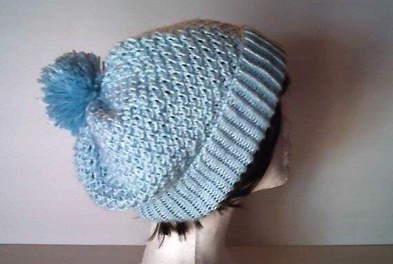Soft Blue Knit Slouchy Beanie with Pompom