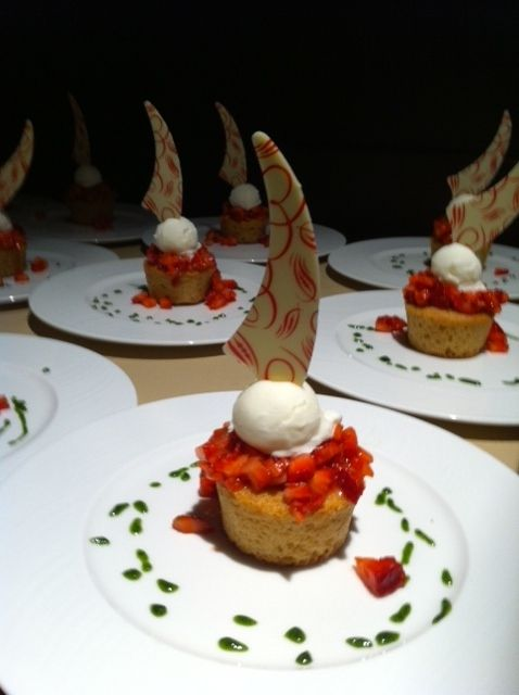Fresh and pretty Strawberry Shortcake for a banquet event in our Grand Ballroom at Four Seasons Hotel Denver.