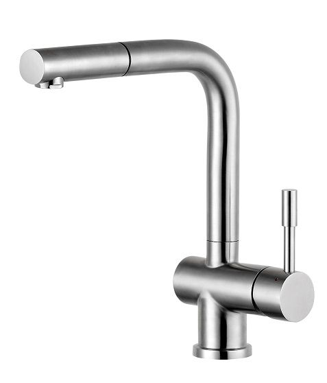 Sleek swivel spout single handle kitchen faucet in brushed ...