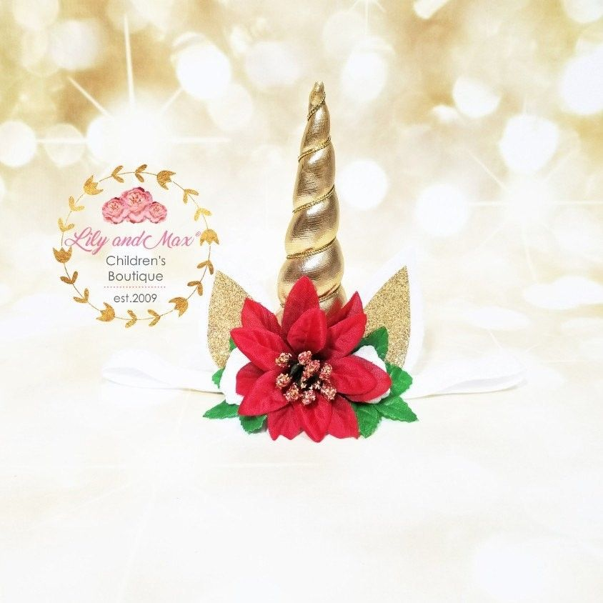 new christmas poinsettia magical unicorn headband