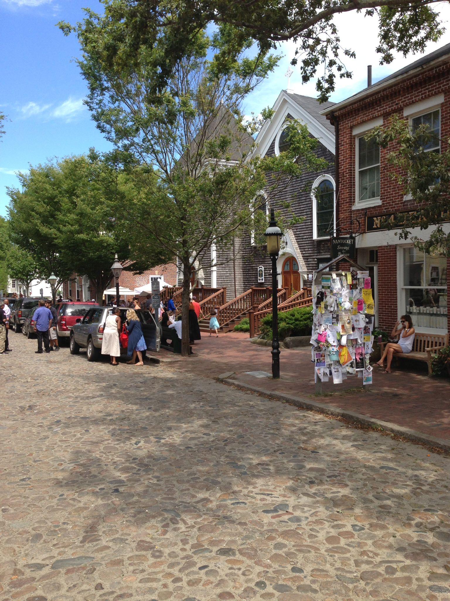 Cobblestone streets add charm in historic Nantucket.
