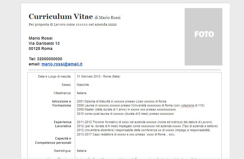 Curriculum Vitae Europeo Per Windows 8 Modelos De Curriculum