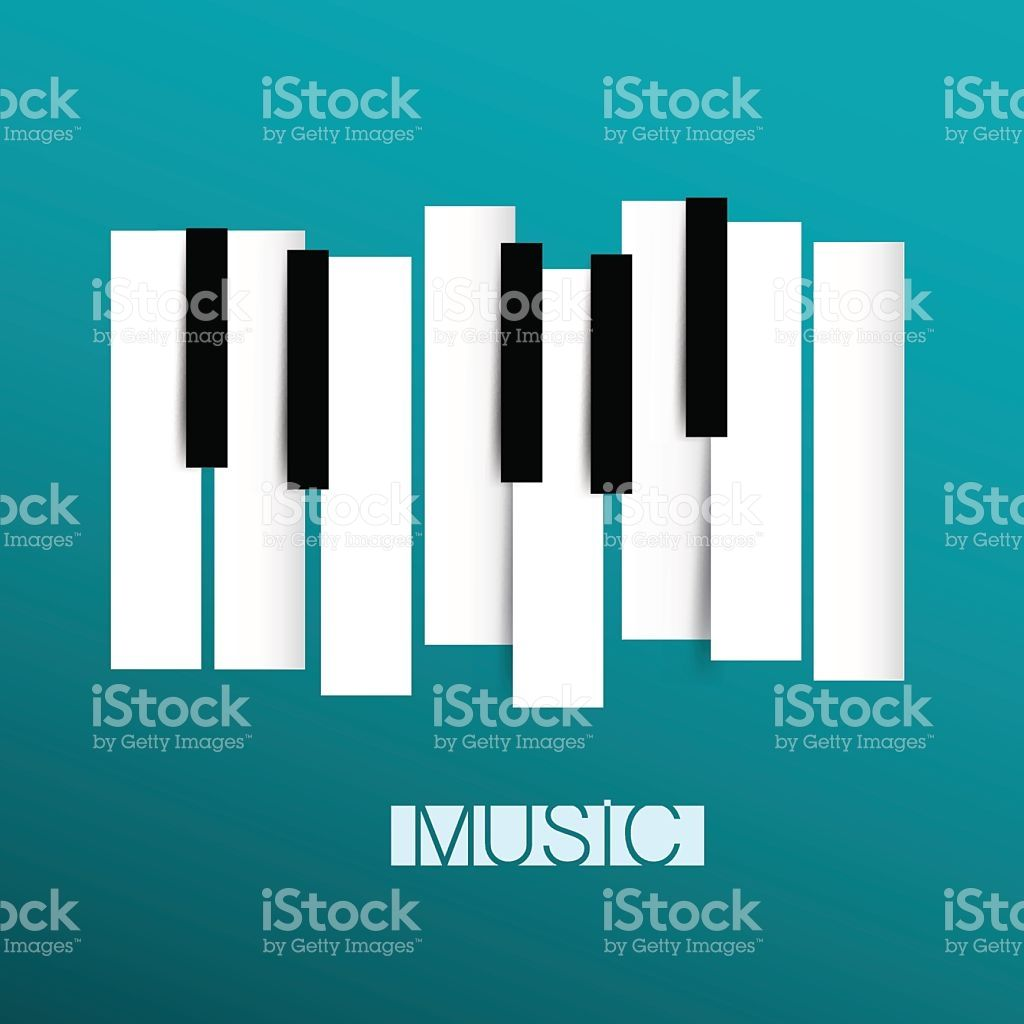 Vector Music Symbol With Abstract Piano Keyboards On Blue Background