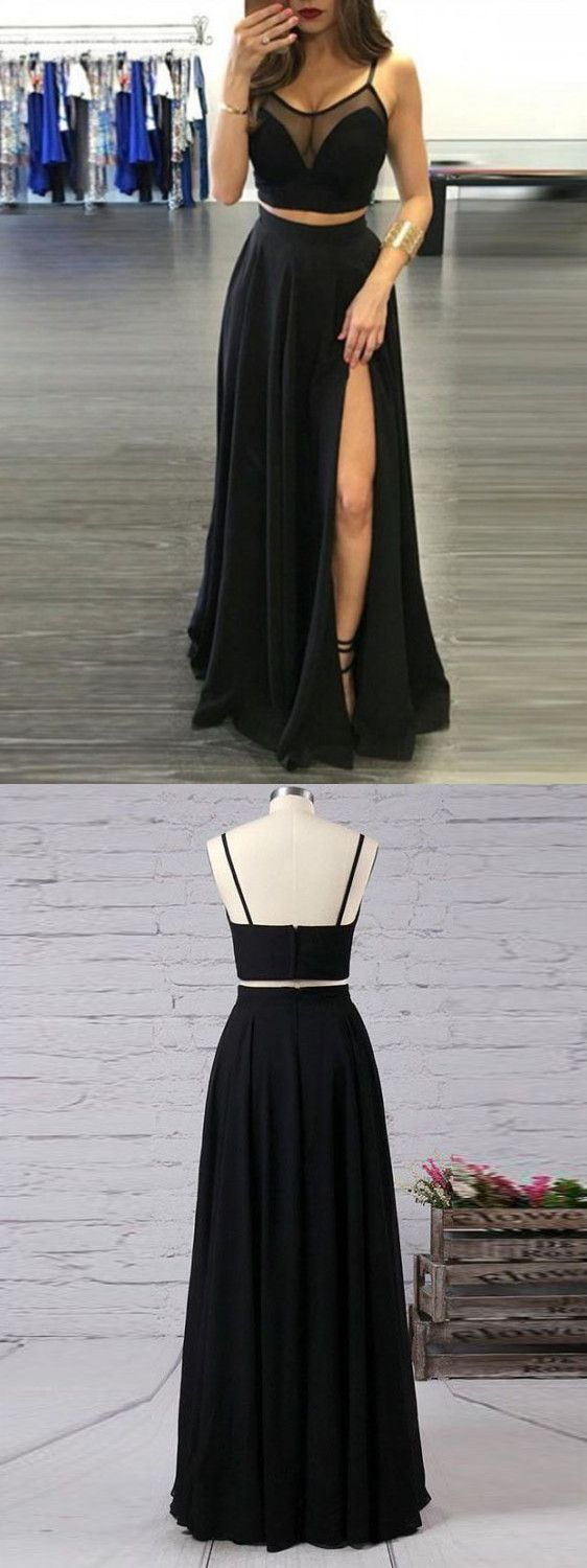 Two piece black prom dress cheap long prom dress vb dresses
