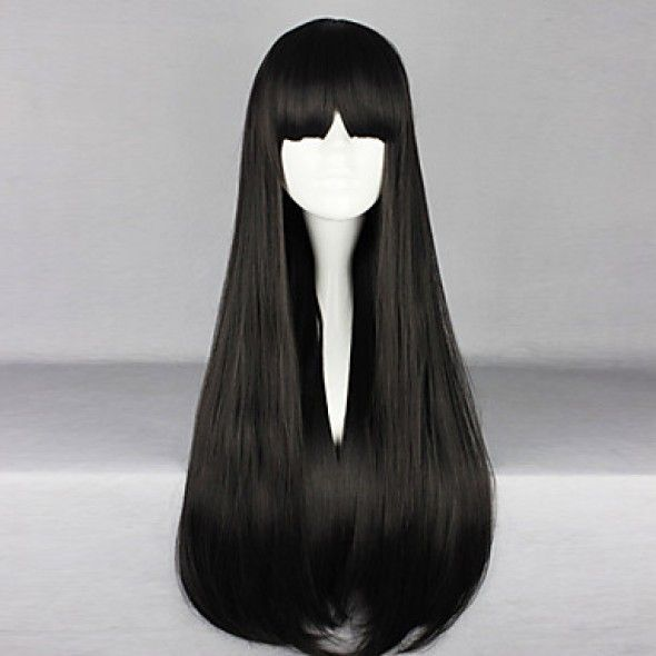 Japanese Cosplay Wig|Black 70cm Long Cosplay Wig |Straight Gothic Lolita Cosplay Wig|Japanese Black 70cm Long Straight Gothic Lolita Cosplay Wig |Japanese Black 70cm Long Straight Gothic Lolita Cosplay Wig is supple and easy to care.It could bear the high temperature for 180 degree.It incorporates inner cap with high quality.