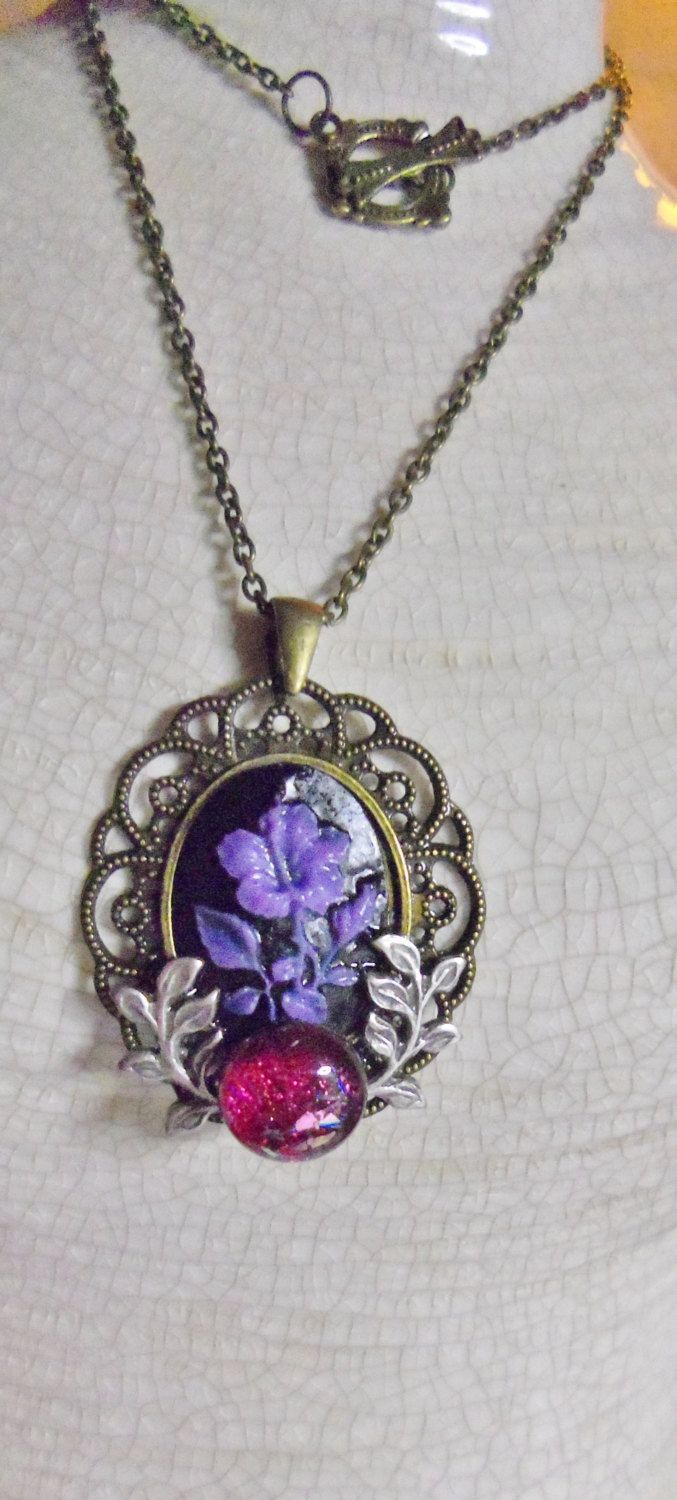 Purple Cameo with Wreath by Spiritracer on Etsy