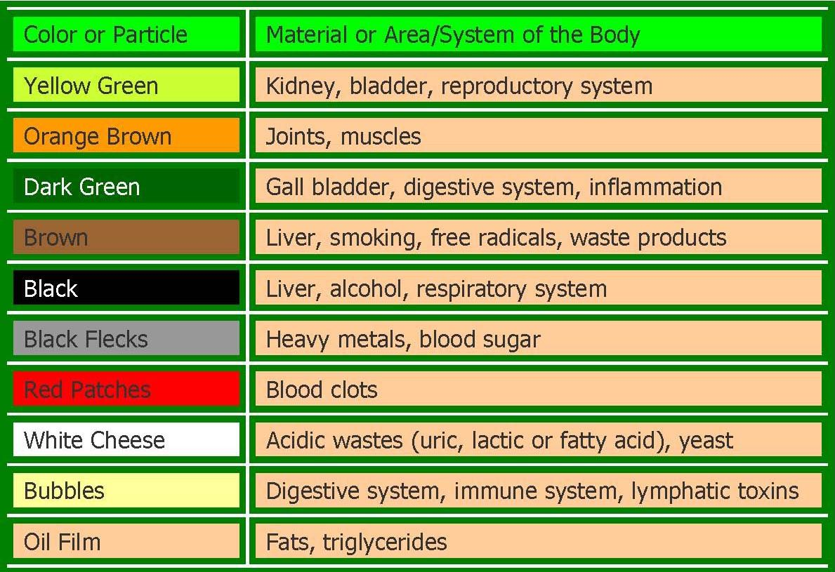 Ion Cleanse Chart Ionic Cleanse Chart Ion Cleanse Color Chart Ion