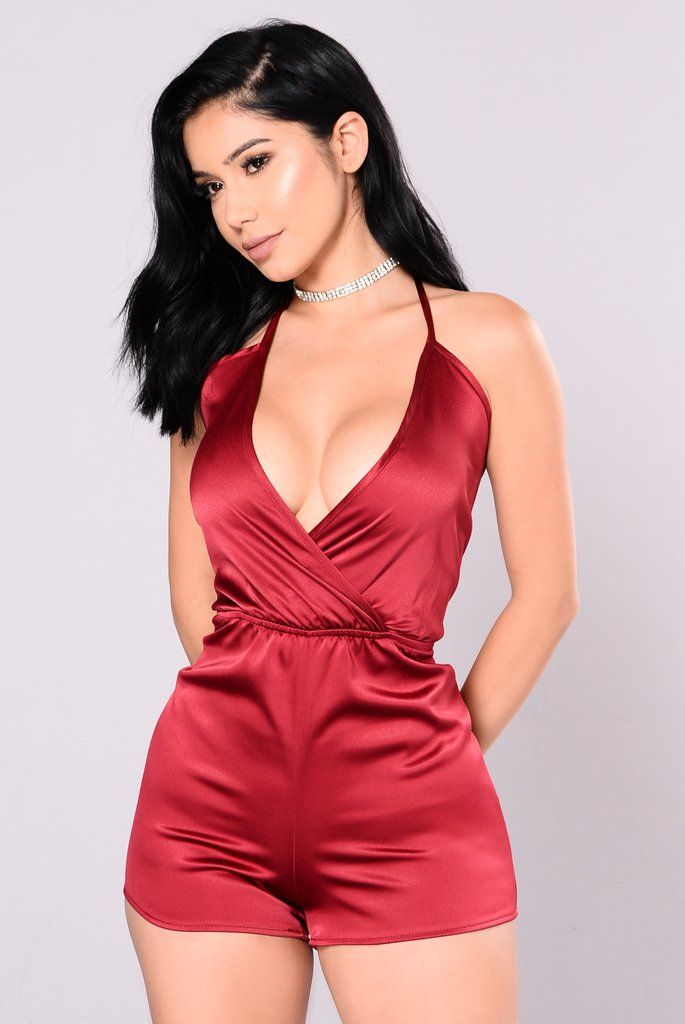 bd5480639c5d My Lady Satin Romper - Bugundy in 2019