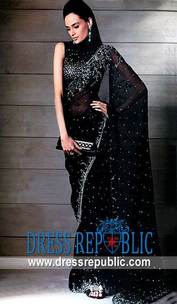e8335af325 Black Margate, Product code: DR1891, by www.dressrepublic.com - Keywords:  Black Designer Saree, Pakistani Designer Sari, Black Chiffon Sari, ...