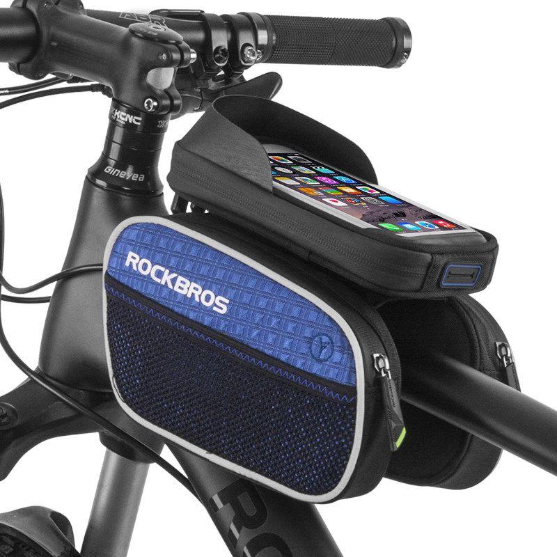 RockBros Cycling Bike Front Tube Waterproof Reflective Pannier Phone Bag Black