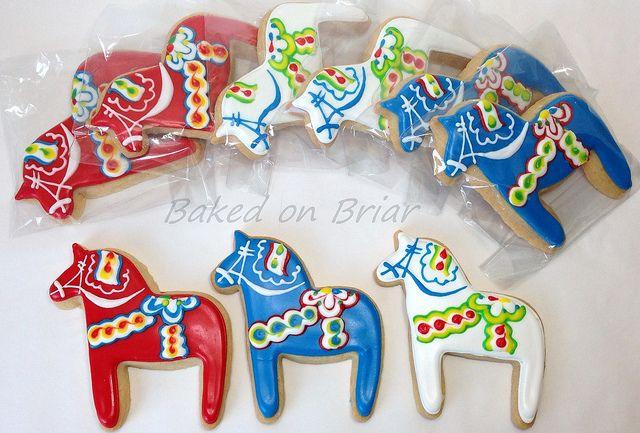 Swedish Dala Horse Cookies Horse Cookies Swedish Cookies Christmas Cutout Cookies