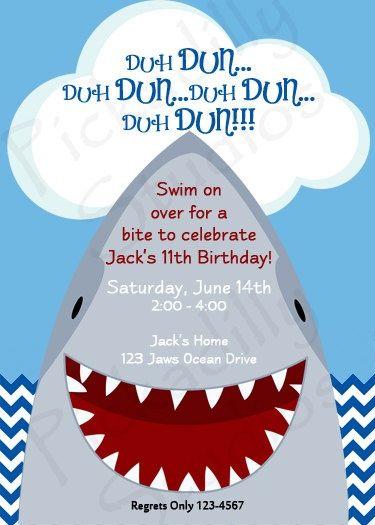 shark birthday party invitations jaws partypickadillystudios, party invitations