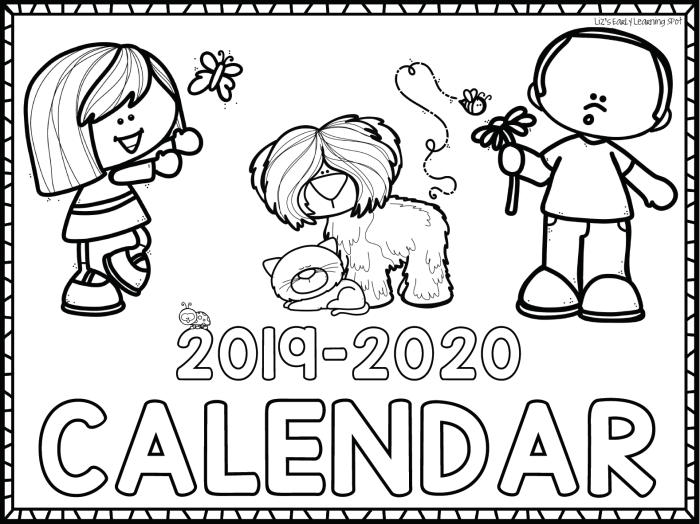 Free 2019-2020 Monthly Calendars for Kids (With images