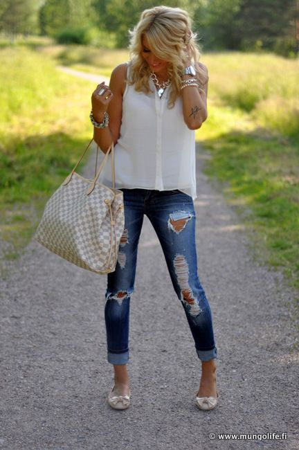 ripped jeans with girly tops and jewelry