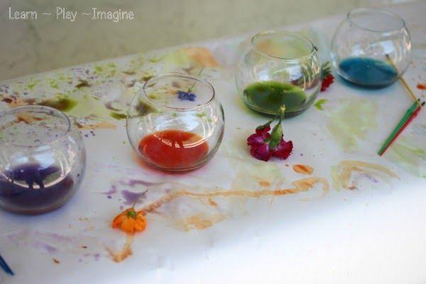 Zelf verf maken met bloemen. Homemade Paint {Natural Watercolors} ~ Learn Play Imagine